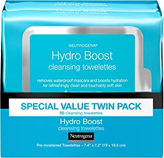 Neutrogena HydroBoost Facial Cleansing & Makeup Remover Wipes with Hyaluronic Acid, Hydrating Pre-Moistened Face Towelettes to Cleanse & Remove Dirt, Makeup & Impurities, Twin Pack, 25 ct