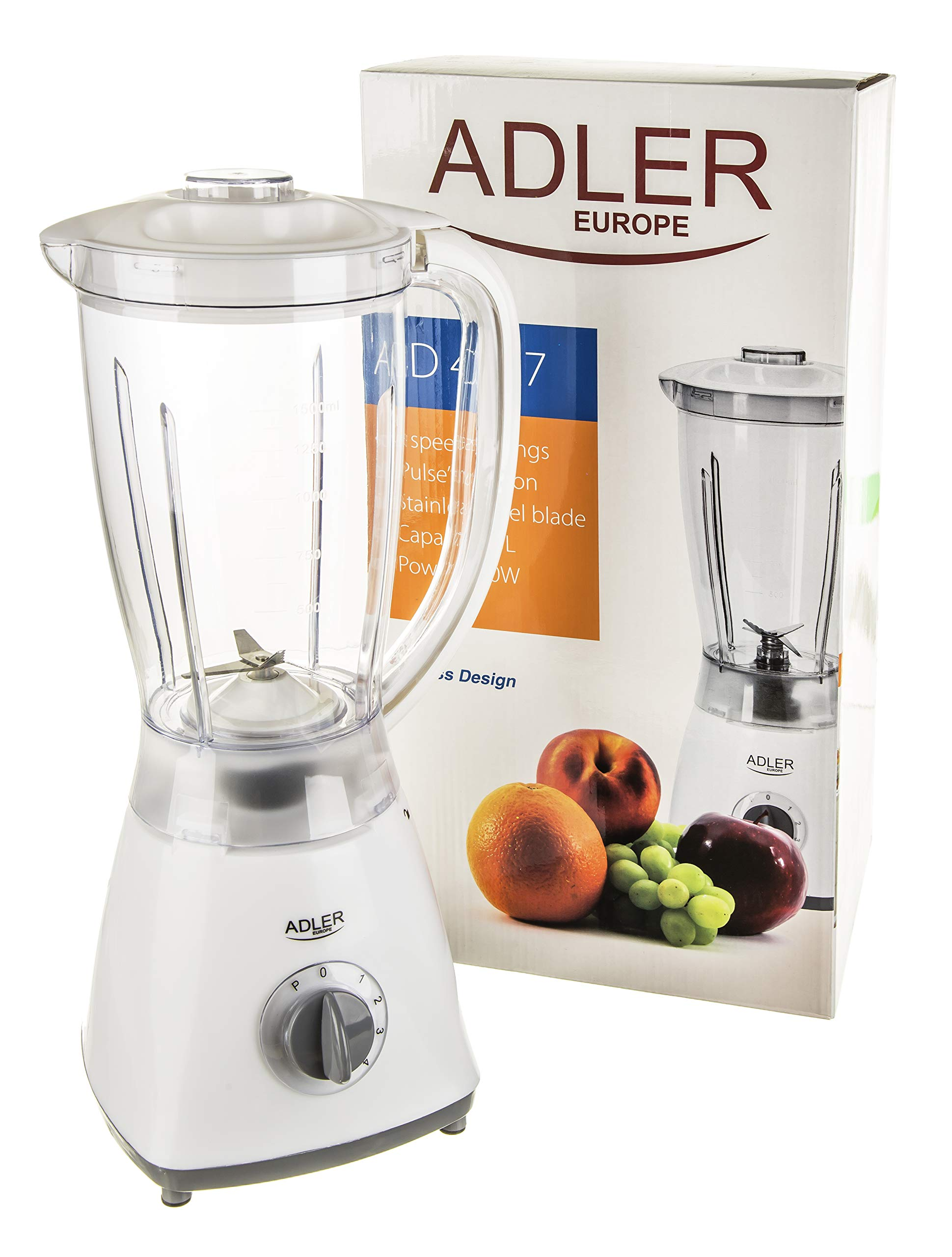 Adler AD 4057 Batidora de vaso, 450 W, 1.5 litros, Plástico, 4 ...