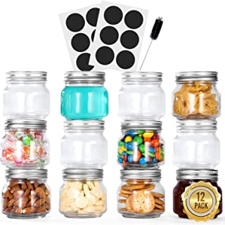 Glotoch Tempered Glass Mason Jars 12 Pack, 8 oz. with Regular Mouth Lids and Bands - Ideal for Spices, Canning, Pickling, ...