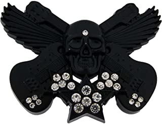 Guitars Skull Skeleton Tattoo Music Tribal Bling Music Gothic Horror Belt Buckle