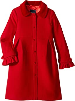 Oscar de la Renta Childrenswear - Wool Button Front Coat w/ Ruffle Detail (Toddler/Little Kids/Big Kids)