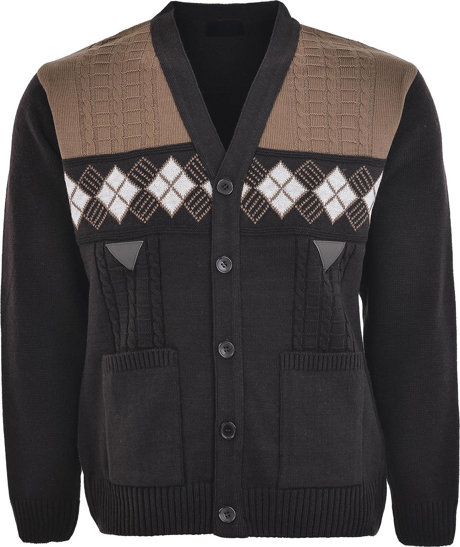 Sonia Fashions Mens Knitwear V Neck Button Through Cardigan with Pockets
