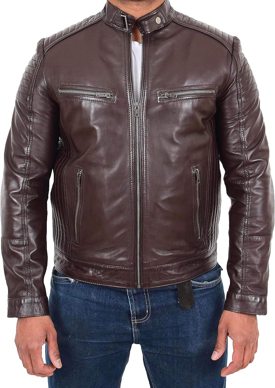 Mens Brown Leather Biker Jacket Quilted Designer Slim Fit Tailored Cut Teddy