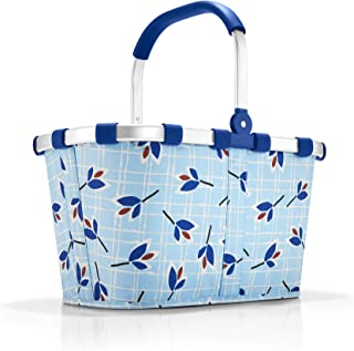 reisenthel Carrybag Fabric Picnic Tote, Sturdy Lightweight Basket for Shopping and Storage, Leaves Blue