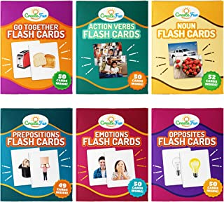 CreateFun Vocabulary Builder Flash Cards 6 Pack - 299 Educational Photo Cards with Learning Games - Includes Emotions, Go Togethers, Nouns, Opposites, Prepositions, Verbs - for Home and Speech Therapy