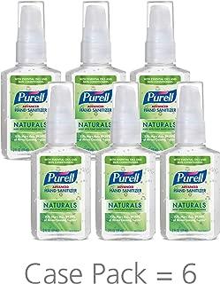 PURELL Advanced Hand Sanitizer Naturals with Plant Based Alcohol, Citrus scent, 2 fl oz pump bottle (Pack of 6)- 9623-04-EC