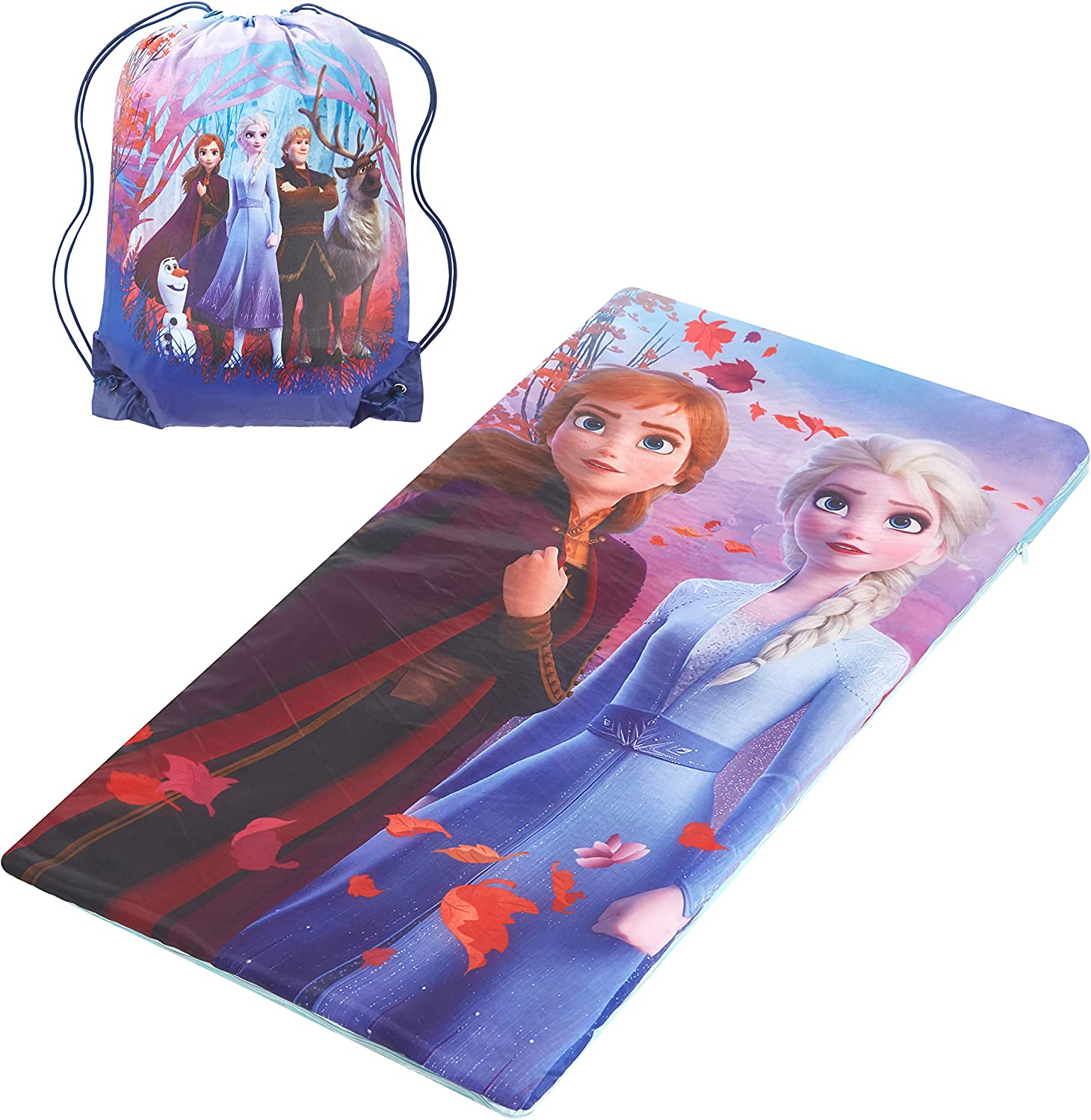 """Idea Nuova Disney Frozen 2 Sling Bag and Cozy Lightweight Sleeping Bag, 46"""" L x 26"""" W, Ages 3+"""