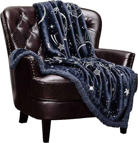 Chanasya 超软太阳系星系恒星太空礼物投掷毯,有九颗围绕太阳运行的行星,包括冥王星,用于床沙发椅生日儿童 DarkNavy 60x70 英寸