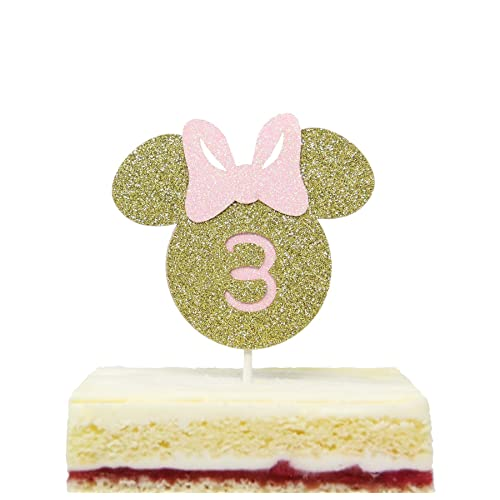 Minnie Mouse Inspired Three Cake Topper Glitter Gold Pink Smash Cake Toppers
