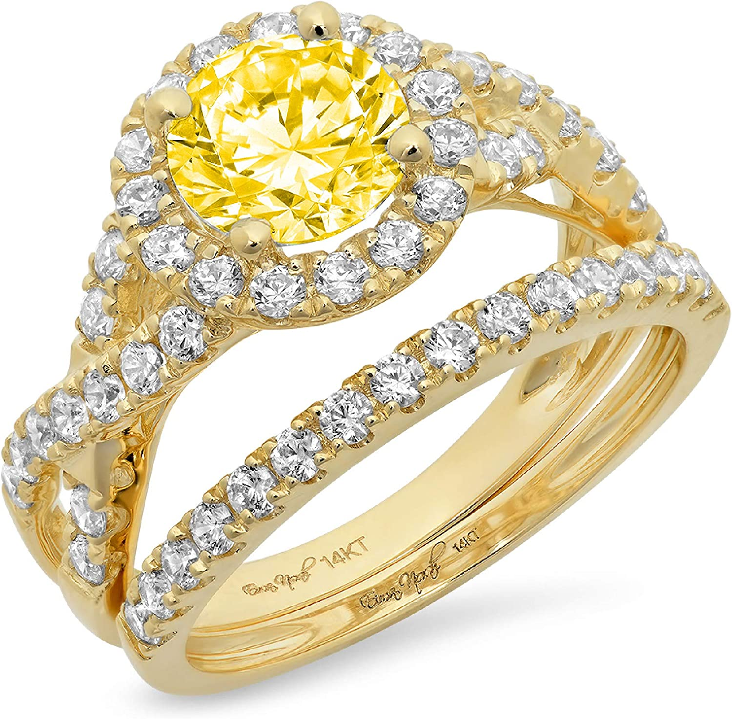 2.40ct Round Cut Halo Split Shank Solitaire Accent Canary Yellow Simulated Diamond CZ Engagement Promise Statement Anniversary Bridal Wedding Ring Band set Real Solid 14k Yellow Gold