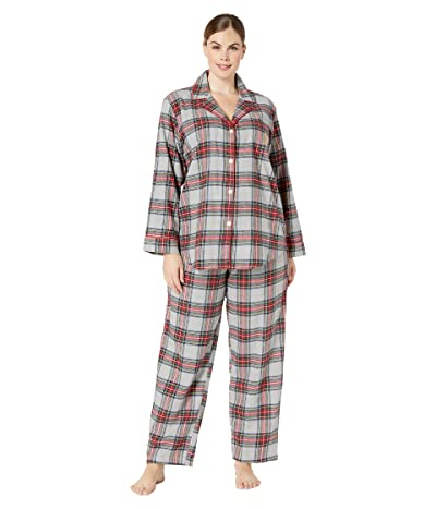 LAUREN Ralph Lauren Plus Size Brushed Twill Long Sleeve Notch Collar Long Pants Pajama Set (Multi Plaid) Women
