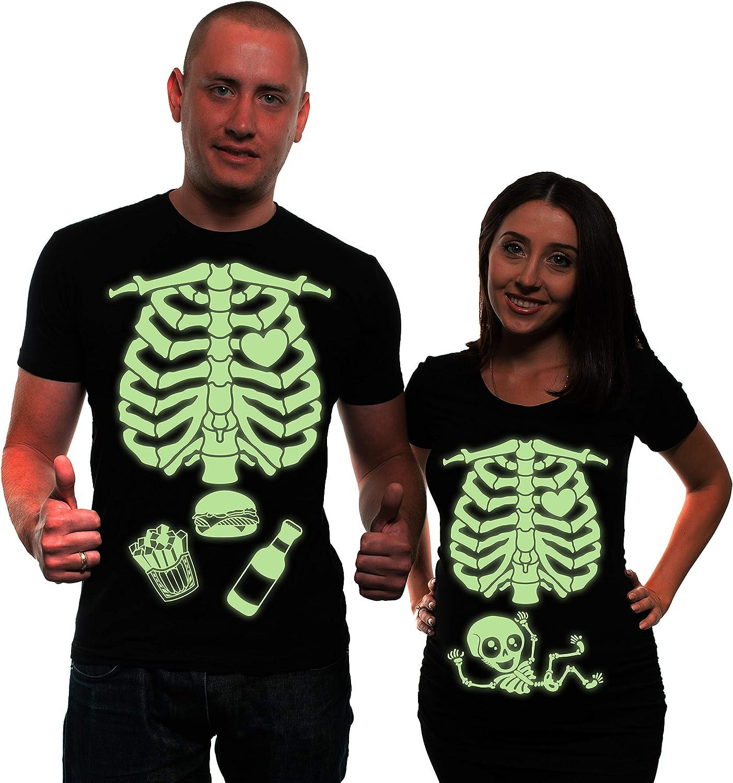 待望 Glow in The Dark Maternity Halloween T-Shirt Cos Skeleton Couple オリジナル