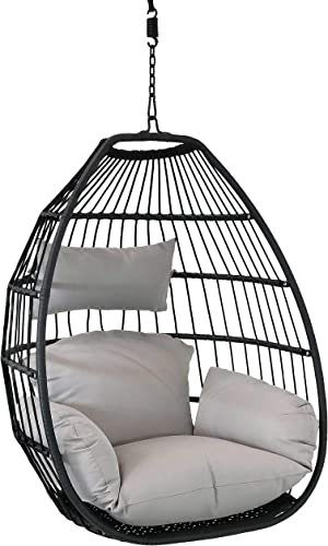 lowest Sunnydaze Delaney Hanging Egg Chair with Seat Cushions - 2021 Bohemian Black Resin Wicker Hanging online sale Chair with Collapsible Nylon Rope Back and Gray Polyester Cushions - 50-Inch online