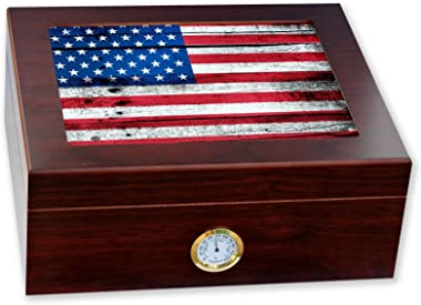 ExpressItBest Premium Desktop Humidor - Glass Top - Flag of United States American USA - Wood Design - Cedar Lined with humid