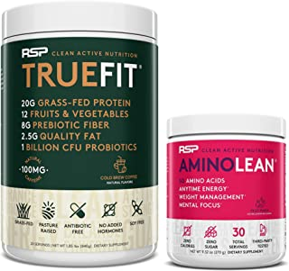 AminoLean Pre Workout Energy (Fruit Punch 30 Servings) with TrueFit Protein Powder (Cold Brew 2 LB)
