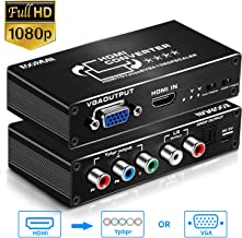 HDMI to 1080P Component Scaler Converter, Koopman HDMI to Component (YPbPr/RGB/5RCA) Video Or VGA Converter with Optical and R/L Audio Out for PS4, PS3, PC Etc