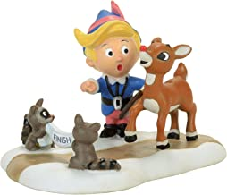 Department 56 North Pole Training for Christmas Eve Hermey and Rudolph The Red-Nosed Reindeer Figurine Village Accessory, Multicolor