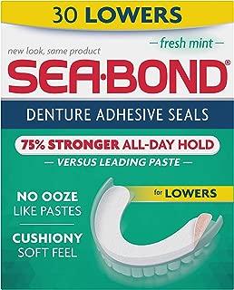 Sea Bond Secure Denture Adhesive Seals, Fresh Mint Lowers, 30 Count