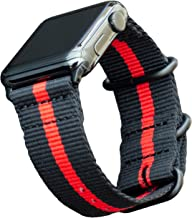 Carterjett Thin Red Line Nylon NATO Compatible with Apple Watch Band 44mm 42mm Series 5, 4, 3, 2, 1 Outdoors Woven Canvas iWatch Band Replacement Sport Wrist Strap (42 44 S/M/L Thin Red Line)