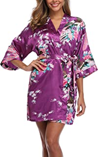 Sueshop Women's Floral Satin Robe Short Silk Bridal Robe Printing Peacock Kimono Sleepwear