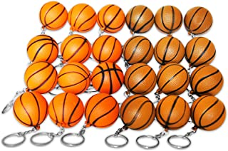 Novel Merk 24 Basketball Sports Ball Keychains Pack Includes Orange & Brown for Kids Party Favors & School Carnival Prizes