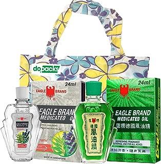 Eagle Medicated Oil (Eucalyptus) 24 ml 0.8 oz + White Eagle Medicated Oil External Analgesic (Aromatic Lavender) 0.8oz 24 ml Bundle + 1 Free Tote Bag