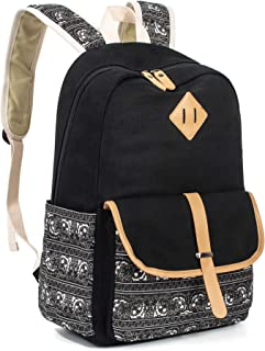 Leaper Cute Canvas Backpack for Girls School Bag Travel Daypack Black 8812