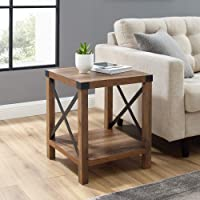 Walker Edison Furniture Company Metal and Wood Rustic Modern Farmhouse Square Side Accent Small End Side Table (Brown ,...