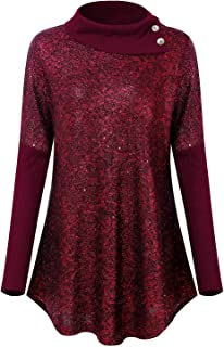 Womens Casual Lapel Neck Sequin Tops Glitter Long Sleeve Loose Pullover Tunic Blouse Tops