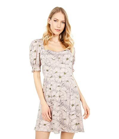 WAYF Beatrix Short Sleeve Mini Dress (Mauve Daisies) Women