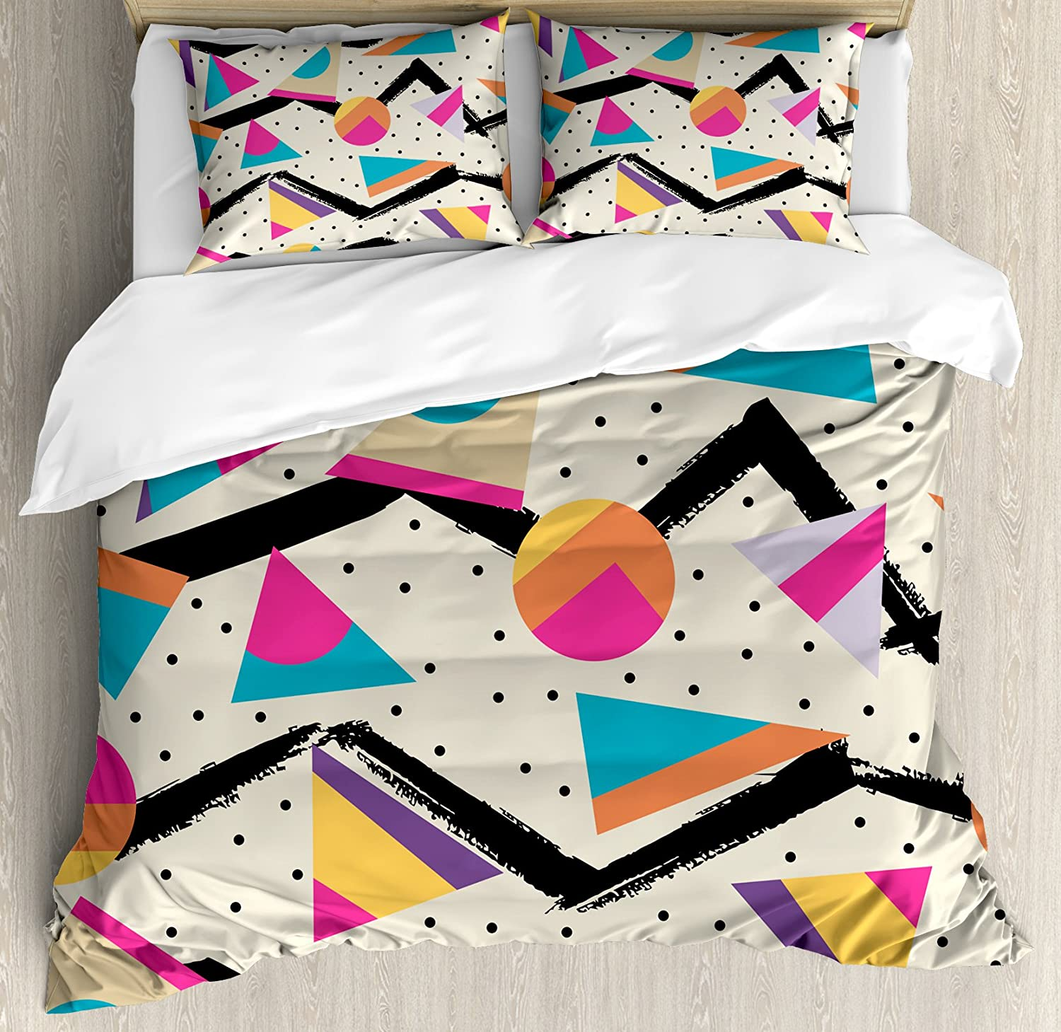 Gifts Ambesonne Indie Duvet Cover Set Super-cheap Fashion Style Eighties Memphis