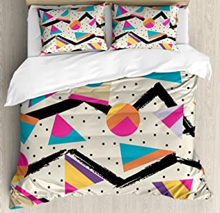 Ambesonne Indie Duvet Cover Set, Eighties Memphis Fashion Style Geometric Abstract Colorful Design with Dots Funky, Decorative 3 Piece Bedding Set with 2 Pillow Shams, King Size, Cream Pink
