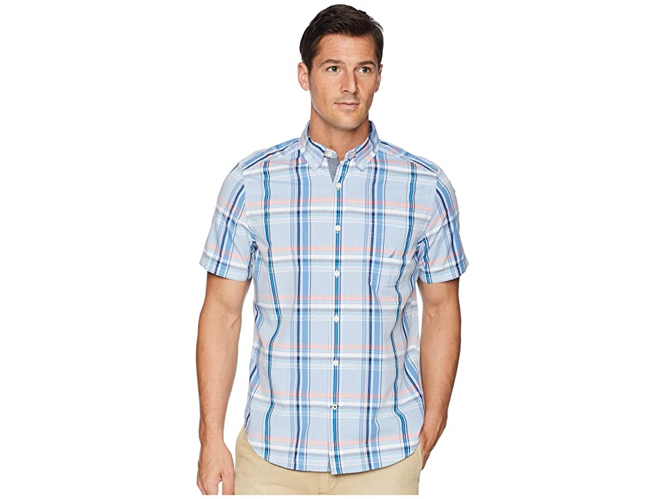 Nautica Short Sleeve Casual Plaid Shirt (River Blue) Men