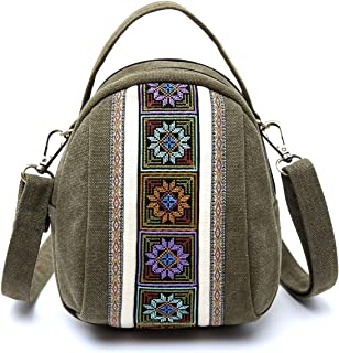Goodhan Embroidery Canvas Crossbody Bag Cell phone Pouch Coin Purse for Women Girls