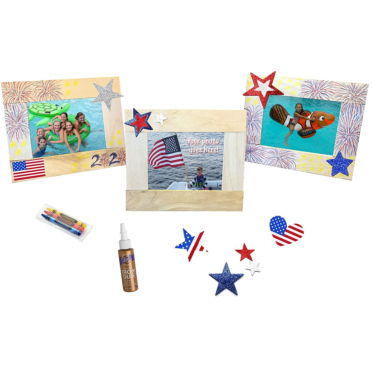 Picture Frame Kit Complete with Instructions Made in USA from Recycled Materials Perfect Stix Krafty Kitz Wooden Craft Stick Kit for Kids