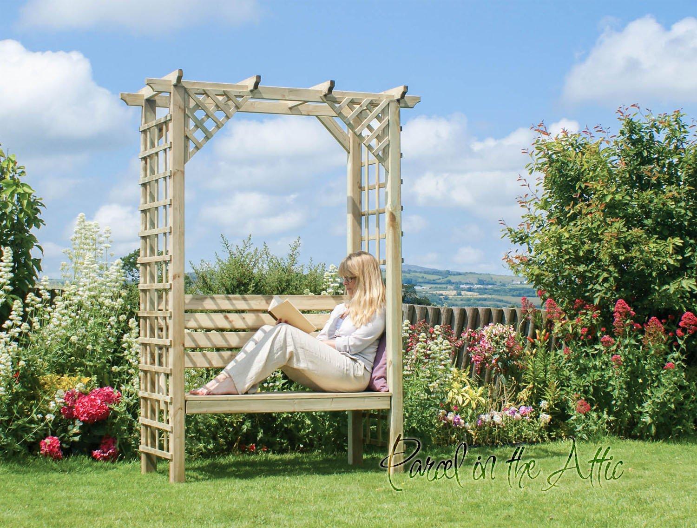 Arbour Garden asiento banco de esquina metal works Pergola diseño cilíndrico de almacenamiento para dolores de madera muebles (ref, g): Amazon.es: Jardín
