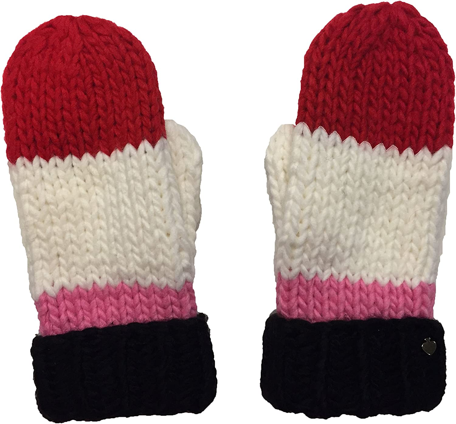 Kate Spade New York Women`s Chunky Knit Color Block Mittens