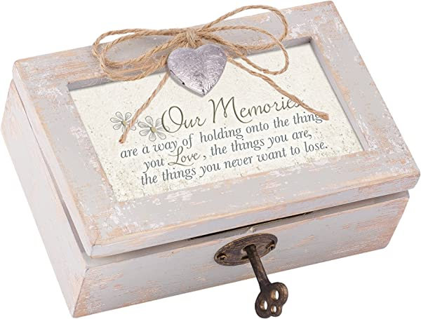 Our Memories Holding Your Love Distressed Wood Locket Jewelry Music Box Plays Tune Wonderful World