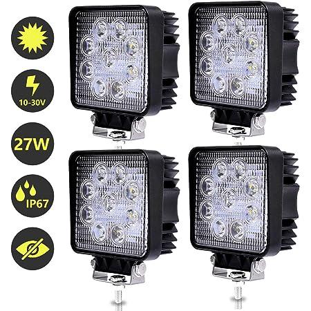 8x LED Arbeitsscheinwerfer 27W Offroad IP67 Zusatzscheinwerfer SUV Quadrat Jeep#