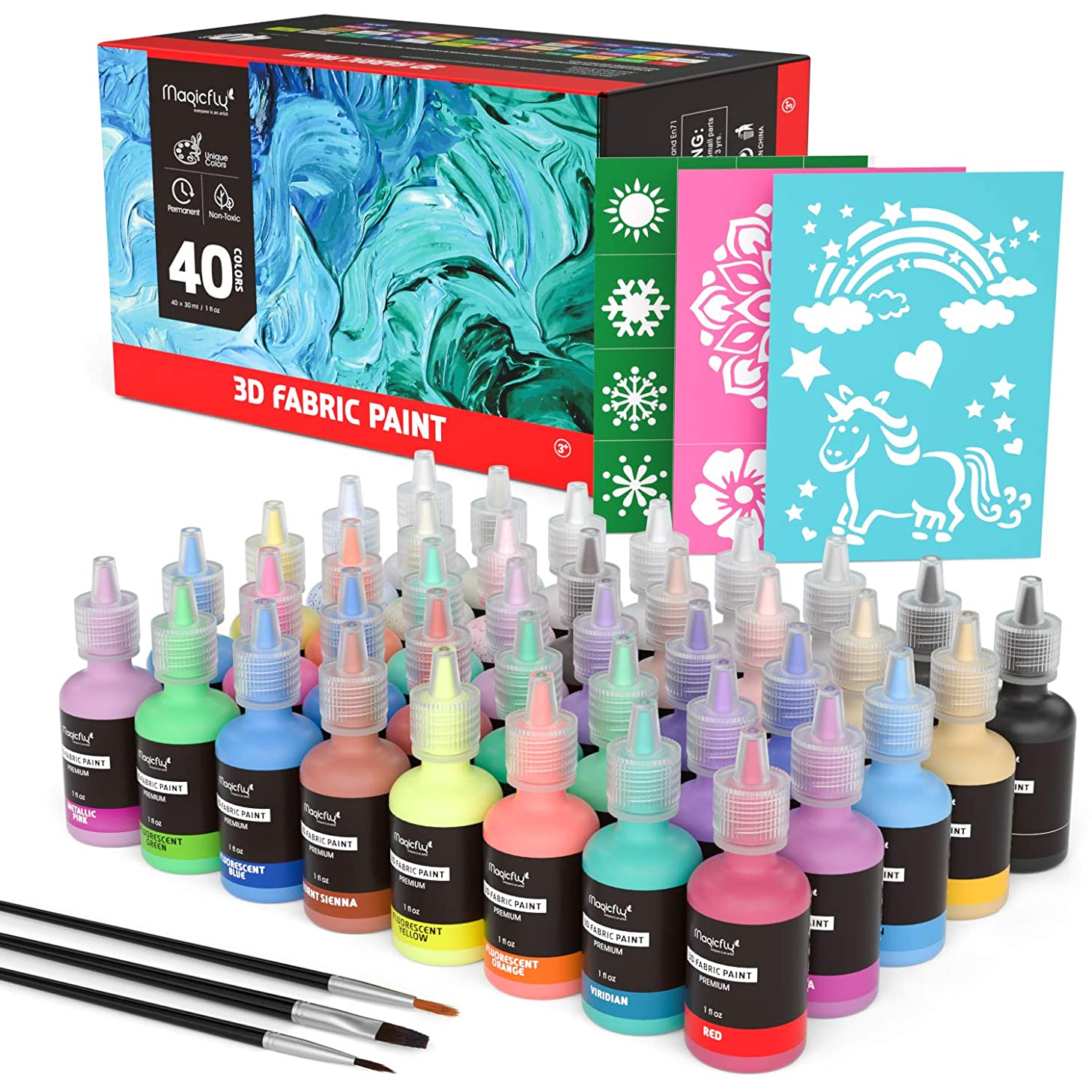 Puffy Paints, Magicfly 40 Colors 3D Fabric Paint with 3 Brushes & Stencils, Permanent Textile Paint with Fluorescent, Glow in The Dark, Glitter, Metallic Colors for Clothing,T-Shirts, Glass and Wood