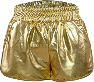 SIMYJOY Summer Yoga Sports Dancing Hot Shorts Metallic Shiny Shorts with Elastic Waist for Women and Girls