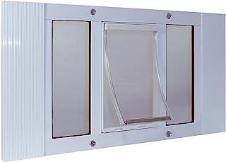 "(Adjustable Width 70cm - 80cm , 7"" x 11.25"" Flap Size, White) - Ideal Pet Products 23SWDM Aluminium Sash Window Pet Door, ..."