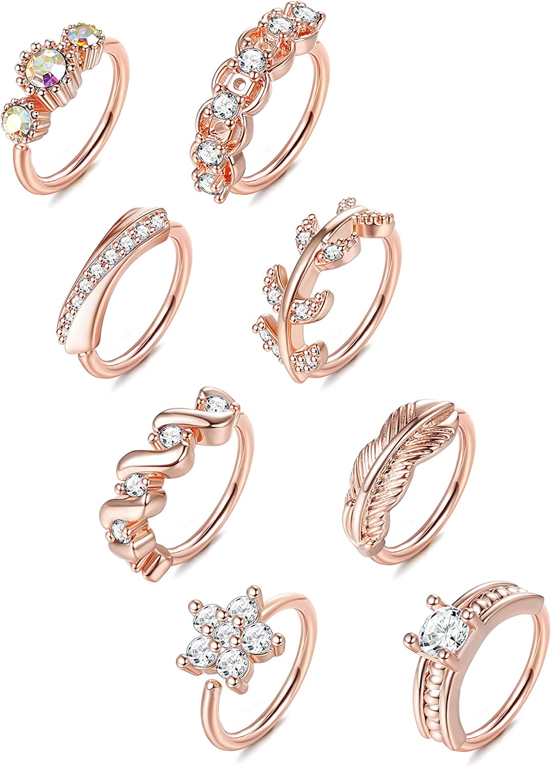 ORAZIO 8Pcs 20G Stainless Steel Nose Ring Hoop Paved CZ Leaf Cartilage Earring for Women Body Ear Piercing Hoop Ring for Nose Ear Cartilage