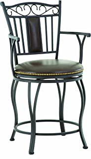 Steve Silver Company Barbara Jumbo Swivel Counter Chair with Armrest, 24