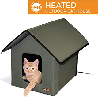 K&H Pet Products 3993 Outdoor Kitty House, 18 x 22 x 17-Inches, Heated - Olive