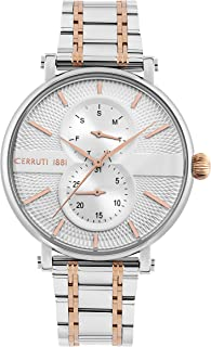 Cerruti 1881 Scorrano Analogue Silver Case, Silver Dial And Silver And Rose Gold Stainless Steel Watch For Men - CRA26004