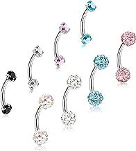 ORAZIO 8-12Pcs 16G Stainless Steel Eyebrow Ring Lip Ring Body Piercing Jewelry 6-12mm
