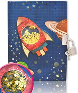 EverCreatives Kids Journal Lock Diary for Boys, Spacecraft Shakable Sequin Diary with Lock for Kids 7.1 x 5.3 Inches 160 P...