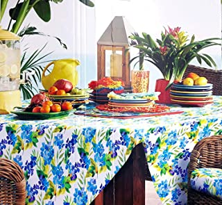 Fiesta Spring Floral Blooms (Lapis) Indoor/Outdoor Fabric Tablecloth | 60