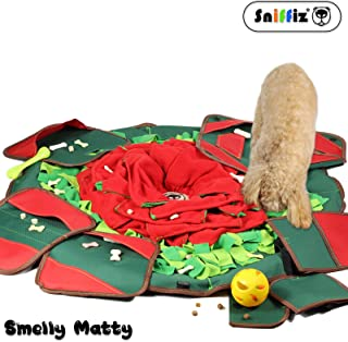 SNiFFiz SmellyMatty Dog Puzzle Toys - Food Snuffle Mat - Large Nosework Blanket + 5 Interactive Brain Teaser Treat Dispenser for Foraging Instinct, Indoor Boredom Stress Relief - Tricky Feeding Games